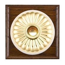 Picture of 1 Gang 240V AC 6A Bell Push - Fluted Dome Dark Oak Ovolo Edge/ Polished Brass/ White Collars