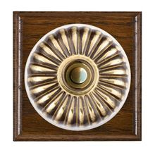 Picture of 1 Gang 240V AC 6A Bell Push - Fluted Dome Dark Oak Ovolo Edge/ Antique Brass/ White Collars