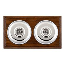 Picture of 2 Gang 20AX 2 Way Toggle Switch - Plain Dome Dark Oak Ovolo Edge/ Bright Chrome/ Black Collars
