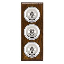 Picture of 3 Gang 20AX 2 Way Toggle Switch - Plain Dome Dark Oak Ovolo Edge/ Bright Chrome/ Black Collars