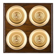 Picture of 4 Gang 20AX 2 Way Toggle Switch - Plain Dome Dark Oak Ovolo Edge/ Polished Brass/ Black Collars