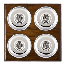 Picture of 4 Gang 20AX 2 Way Toggle Switch - Plain Dome Dark Oak Ovolo Edge/ Bright Chrome/ Black Collars