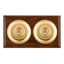 Picture of 2 Gang 20AX Intermediate Toggle Switch - Plain Dome Dark Oak Ovolo Edge/ Polished Brass/ Black Collars