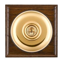 Picture of 1 Gang 20AX Double Pole Toggle Switch - Plain Dome Dark Oak Ovolo Edge/ Polished Brass/ Black Collars