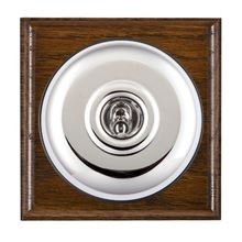 Picture of 1 Gang 20AX Double Pole Toggle Switch - Plain Dome Dark Oak Ovolo Edge/ Bright Chrome/ Black Collars