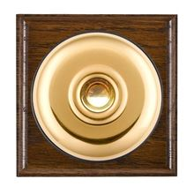 Picture of 1 Gang 240V AC 6A Bell Push - Plain Dome Dark Oak Ovolo Edge/ Polished Brass/ Black Collars