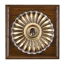 Picture of 1 Gang 20AX Double Pole Toggle Switch - Fluted Dome Dark Oak Ovolo Edge/ Antique Brass/ Black Collars