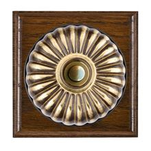 Picture of 1 Gang 240V AC 6A Bell Push - Fluted Dome Dark Oak Ovolo Edge/ Antique Brass/ Black Collars
