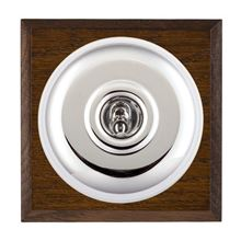 Picture of 1 Gang 20AX 2 Way Toggle Switch - Plain Dome Dark Oak Chamfered Edge/ Bright Chrome/ White Collars
