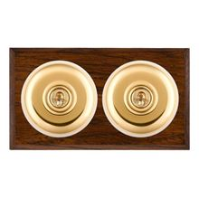 Picture of 2 Gang 20AX 2 Way Toggle Switch - Plain Dome Dark Oak Chamfered Edge/ Polished Brass/ White Collars