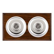 Picture of 2 Gang 20AX 2 Way Toggle Switch - Plain Dome Dark Oak Chamfered Edge/ Bright Chrome/ White Collars