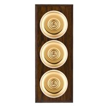Picture of 3 Gang 20AX 2 Way Toggle Switch - Plain Dome Dark Oak Chamfered Edge/ Polished Brass/ White Collars