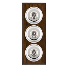 Picture of 3 Gang 20AX 2 Way Toggle Switch - Plain Dome Dark Oak Chamfered Edge/ Bright Chrome/ White Collars