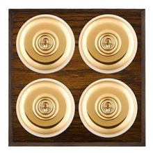 Picture of 4 Gang 20AX 2 Way Toggle Switch - Plain Dome Dark Oak Chamfered Edge/ Polished Brass/ White Collars