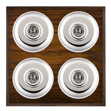 Picture of 4 Gang 20AX 2 Way Toggle Switch - Plain Dome Dark Oak Chamfered Edge/ Bright Chrome/ White Collars