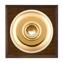 Picture of 1 Gang 240V AC 6A Bell Push - Plain Dome Dark Oak Chamfered Edge/ Polished Brass/ White Collars