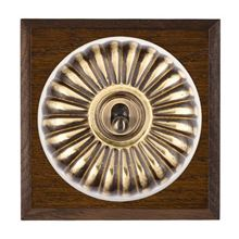 Picture of 1 Gang 20AX 2 Way Toggle Switch - Fluted Dome Dark Oak Chamfered Edge/ Antique Brass/ White Collars