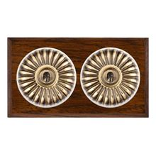 Picture of 2 Gang 20AX 2 Way Toggle Switch - Fluted Dome Dark Oak Chamfered Edge/ Antique Brass/ White Collars