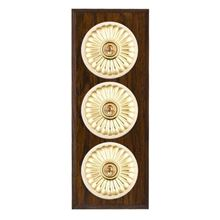 Picture of 3 Gang 20AX 2 Way Toggle Switch - Fluted Dome Dark Oak Chamfered Edge/ Polished Brass/ White Collars
