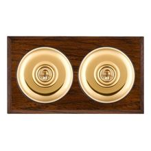 Picture of 2 Gang 20AX 2 Way Toggle Switch - Plain Dome Dark Oak Chamfered Edge/ Polished Brass/ Black Collars