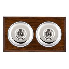 Picture of 2 Gang 20AX 2 Way Toggle Switch - Plain Dome Dark Oak Chamfered Edge/ Antique Brass/ Black Collars