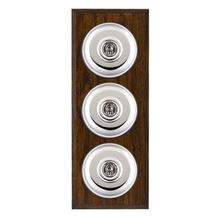Picture of 3 Gang 20AX 2 Way Toggle Switch - Plain Dome Dark Oak Chamfered Edge/ Bright Chrome/ Black Collars