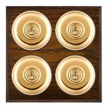 Picture of 4 Gang 20AX 2 Way Toggle Switch - Plain Dome Dark Oak Chamfered Edge/ Polished Brass/ Black Collars