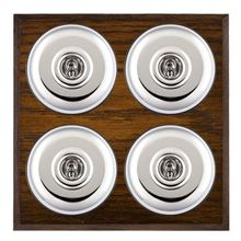 Picture of 4 Gang 20AX 2 Way Toggle Switch - Plain Dome Dark Oak Chamfered Edge/ Bright Chrome/ Black Collars