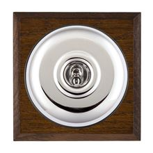 Picture of 1 Gang 240V AC 6A Bell Push - Plain Dome Dark Oak Chamfered Edge/ Bright Chrome/ Black Collars