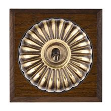 Picture of 1 Gang 20AX 2 Way Toggle Switch - Fluted Dome Dark Oak Chamfered Edge/ Antique Brass/ Black Collars