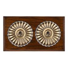 Picture of 2 Gang 20AX 2 Way Toggle Switch - Fluted Dome Dark Oak Chamfered Edge/ Antique Brass/ Black Collars