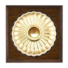 Picture of 1 Gang 240V AC 6A Bell Push - Fluted Dome Dark Oak Chamfered Edge/ Polished Brass/ Black Collars