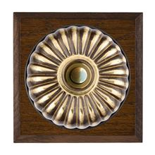 Picture of 1 Gang 240V AC 6A Bell Push - Fluted Dome Dark Oak Chamfered Edge/ Antique Brass/ Black Collars