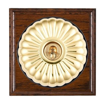 Picture of Fluted Dome Antique Mahogany Finish Ovolo Edge with Black Collars