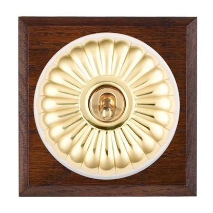 Picture of Fluted Dome Antique Mahogany Finish Chamfered Edge with White Collars