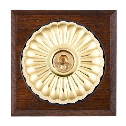 Picture of Fluted Dome Antique Mahogany Finish Chamfered Edge with Black Collars