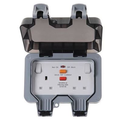 Picture of 13 Amp RCD 2 Gang Single Pole Switched (Latching) Socket Outlet