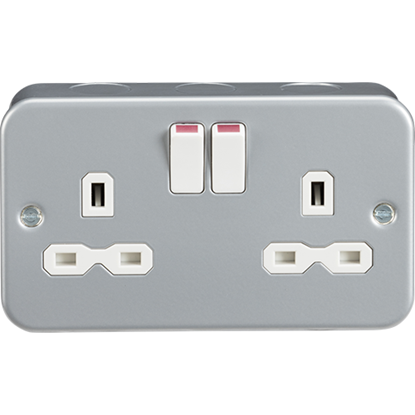 Picture of Metal Clad 13A 2 Gang Double Pole Switched Socket