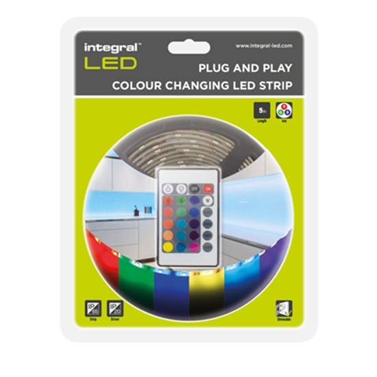 Picture of RGB Plug & Play Colour Changing LED Strip - 5M RGB Strip, IR Controller & UK Wall Mounted Driver