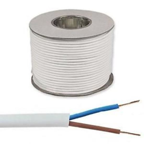 Picture of 0.5mm 2182Y White Two Core Round Circular PVC Flexible Cable - 100m Drum