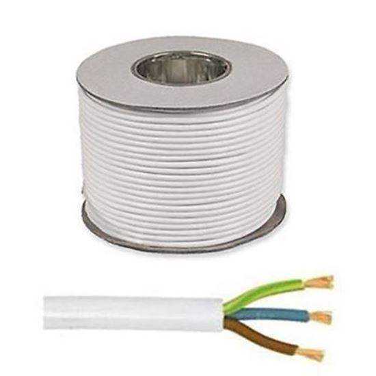 Picture of 0.75mm 3183Y White Three Core Round Circular PVC Flexible Cable - 50m Drum