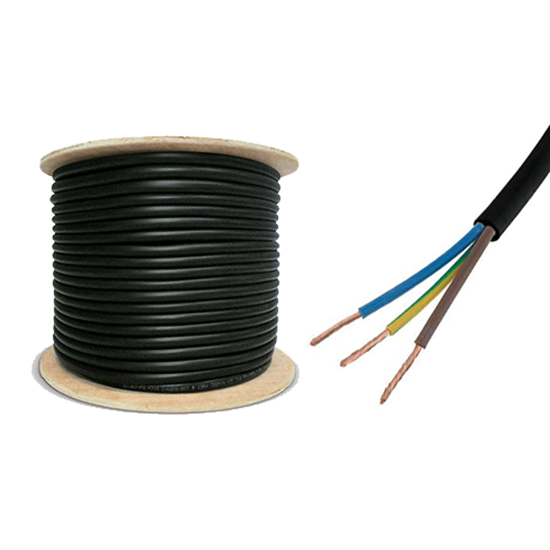 Picture of 2.5mm 3183Y Black Three Core Round Circular PVC Flexible Cable - 100m Drum