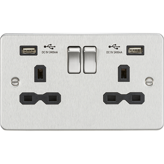 Picture of 13A 2 Gang Switched Socket with Dual USB Charger (2.4A) - Brushed Chrome with Black Insert