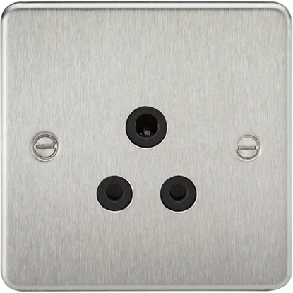 Picture of 5A Unswitched Socket - Brushed Chrome with Black Insert