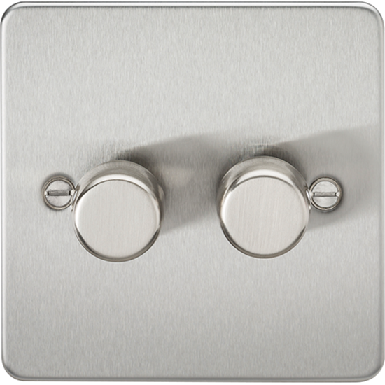 Picture of 2 Gang 2 Way 10-200W (5-150W LED) Trailing Edge Dimmer - Brushed Chrome