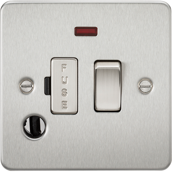 Picture of 13A Switched Fused Spur Unit with Neon and Flex Outlet - Brushed Chrome