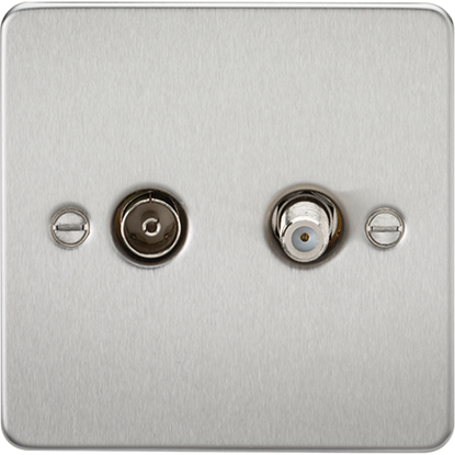 Picture of TV and SAT TV Outlet (Isolated) - Brushed Chrome