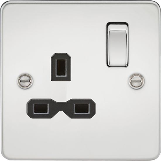 Picture of 13A 1 Gang Double Pole Switched Socket - Polished Chrome with Black Insert