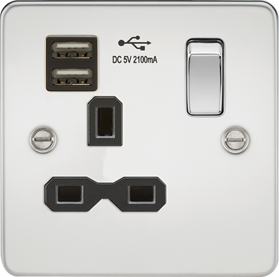 Picture of 13A 1 Gang Switched Socket with Dual USB Charger (2.1A) - Polished Chrome with Black Insert