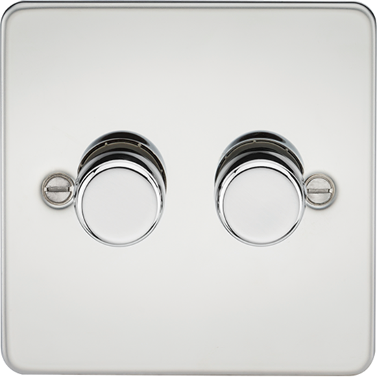Picture of 2 Gang 2 Way 10-200W (5-150W LED) Trailing Edge Dimmer - Polished Chrome